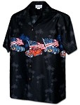 440-3942 Black Pacific Legend Men's Border Hawaiian Shirts